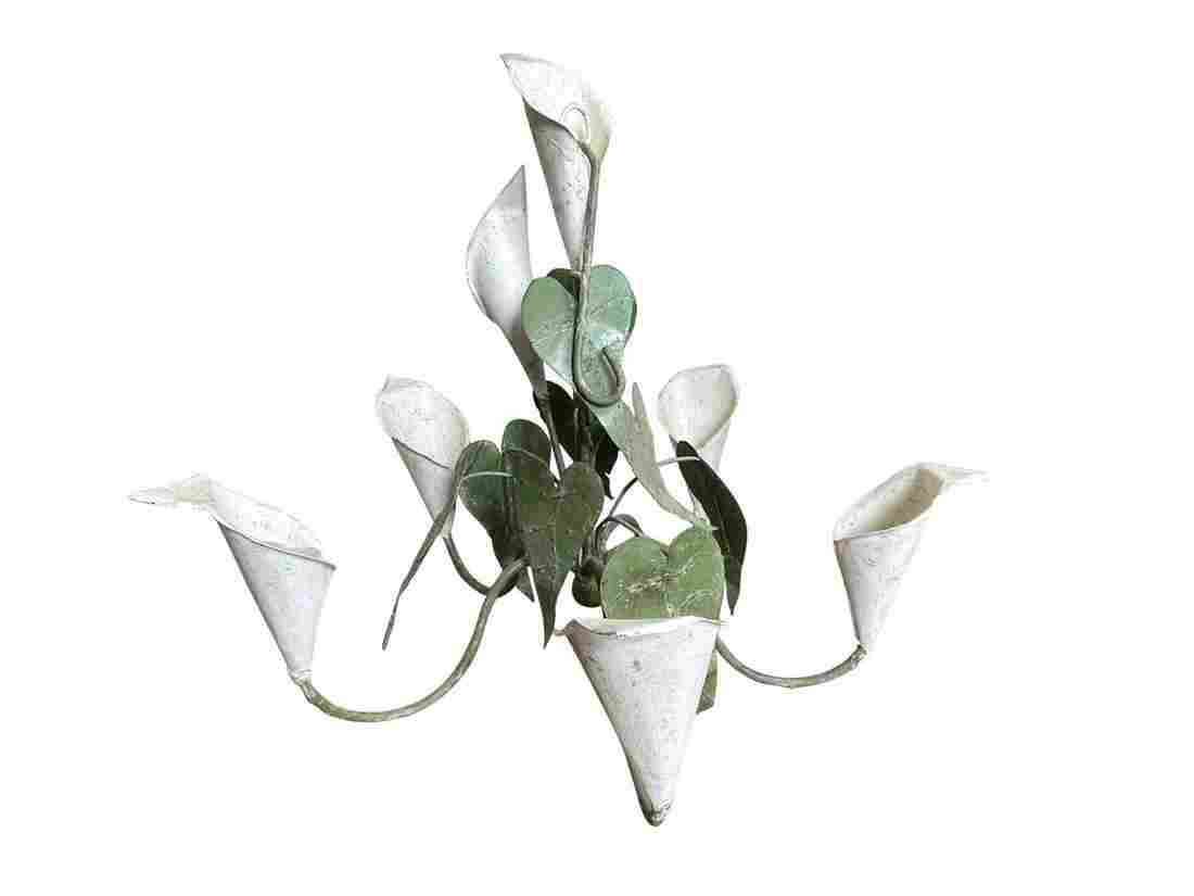 Vintage Tole Flower Chandelier