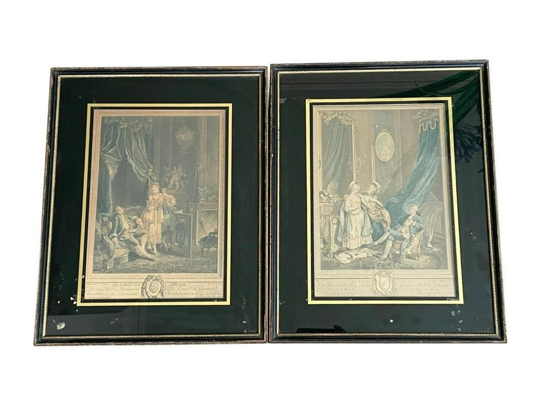 Framed Prints of French Figures, Set of 2
