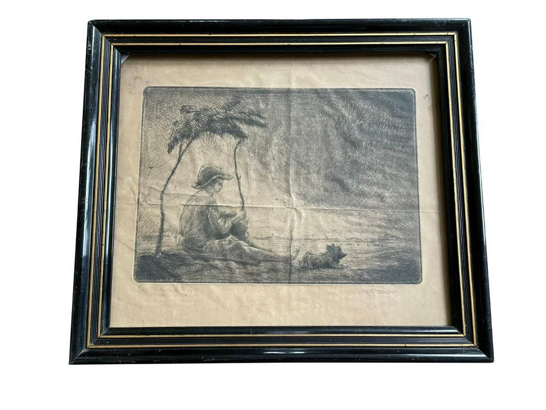A Boy and His Dog Etching, Signed