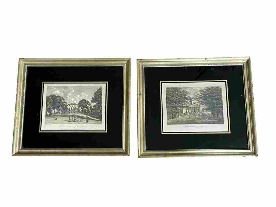 Framed Prints of Noble Homes, Set of 2