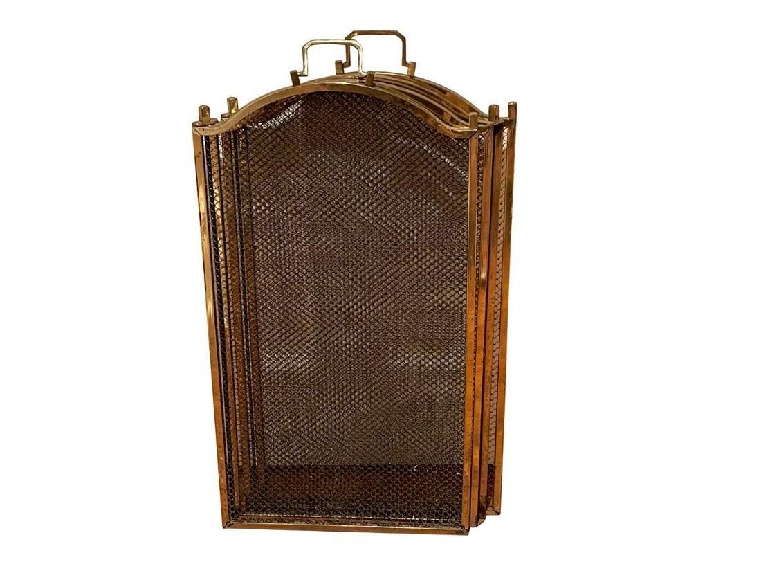 Vintage 4 Panel Folding Brass Fireplace Screen