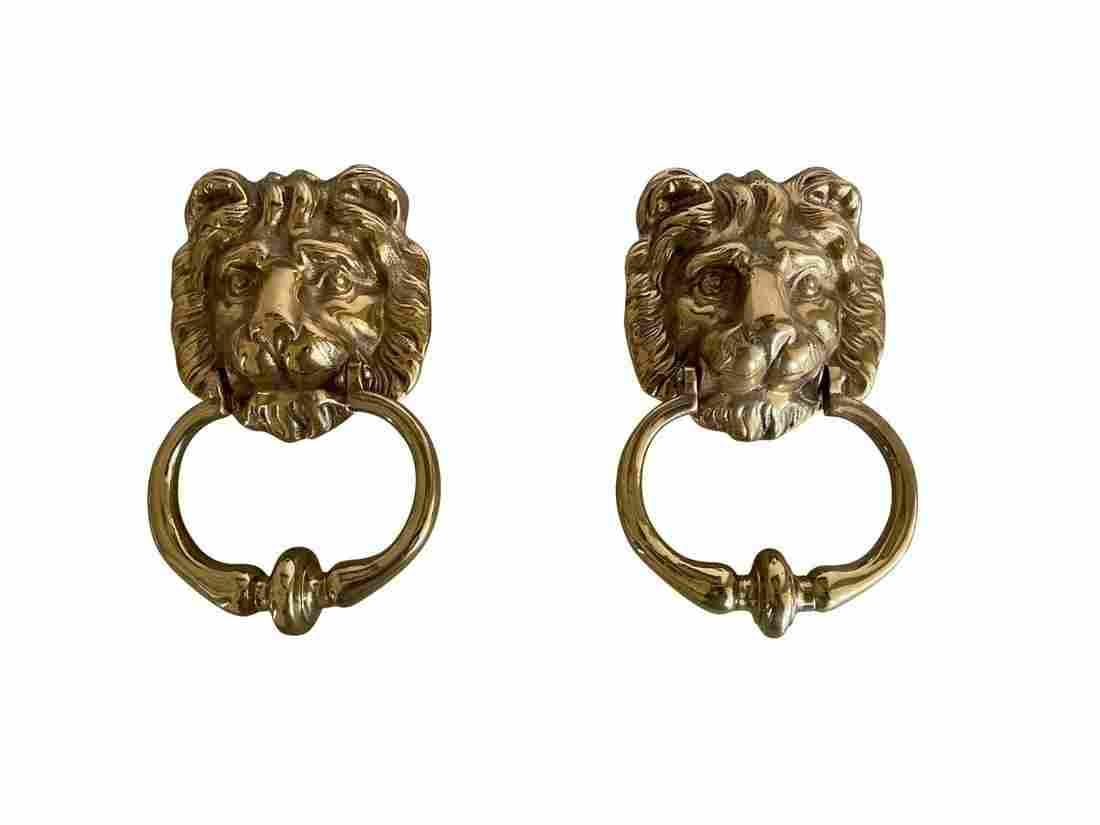 Brass Lion's Head Door Knockers, Pair