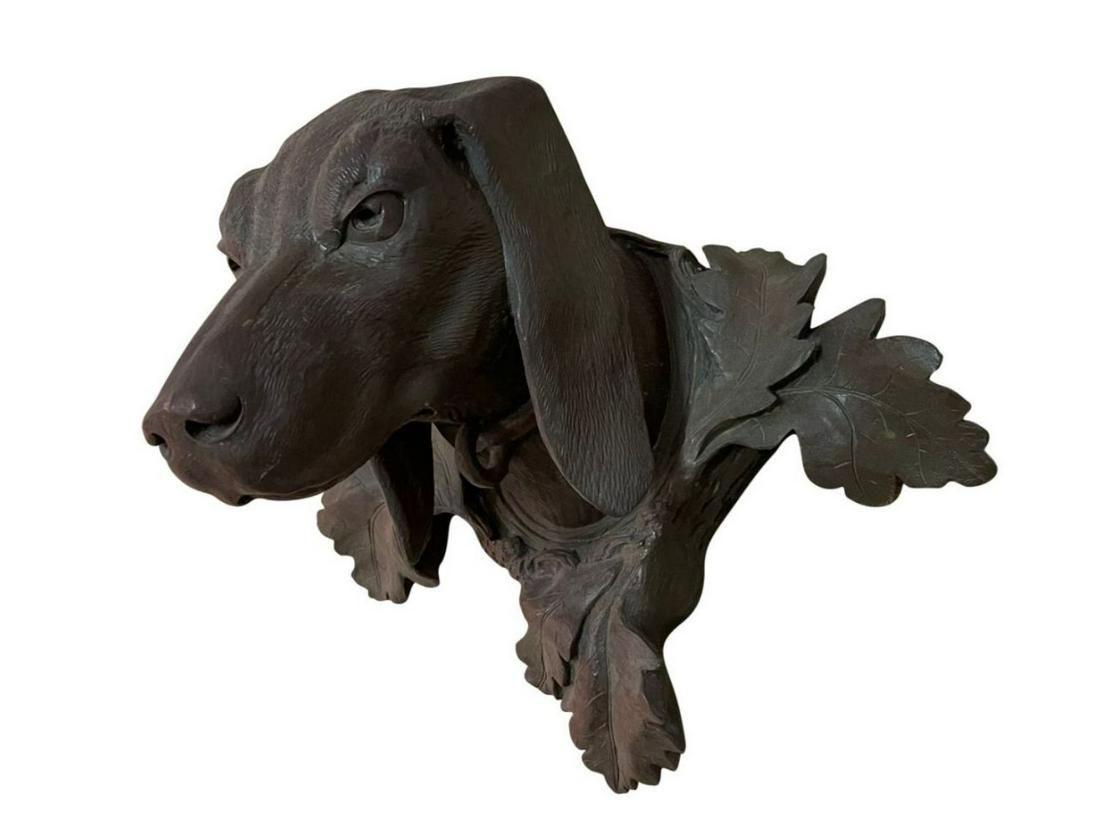 Carved Dog Head Wall Mount