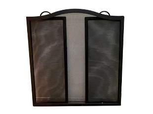 Black Wrought Iron Three Panel Folding Fire Screen