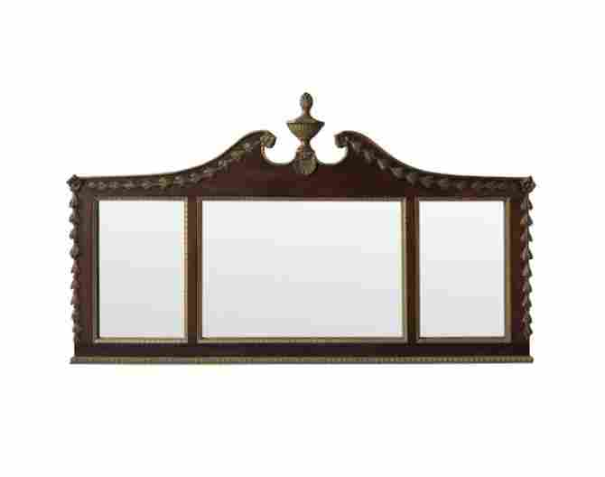 Antique Over Mantle Mirror with Urn and Swags