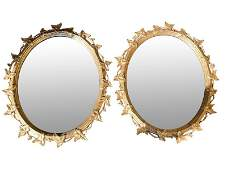 Giltwood Oval Mirrors, Pair