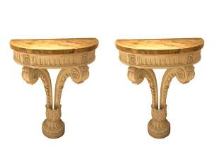 Faux Marble Wall Mounted Consoles, Pair