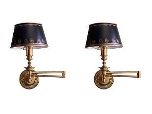 Italian Brass Swing Arm Sconces, Pair