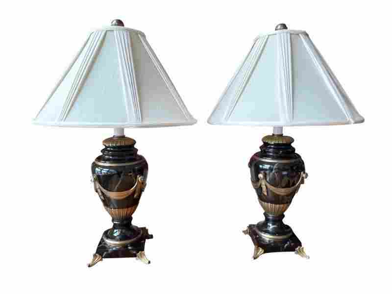 Empire Style Table Lamps, Pair