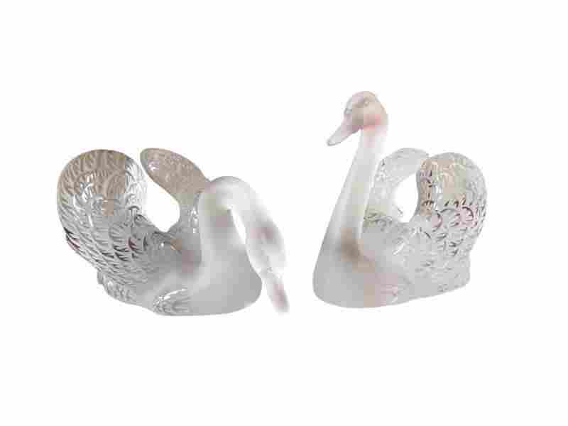 Vintage Lalique Swans, Set of 2