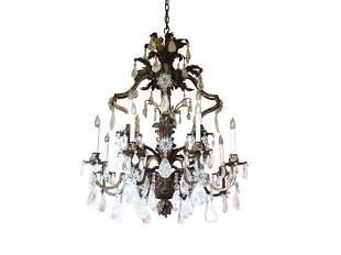 Louis XV Style Rock Crystal 12-Light Chandelier