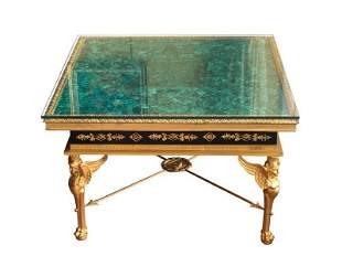 Louis XIV Style Malachite and Dore Bronze Table