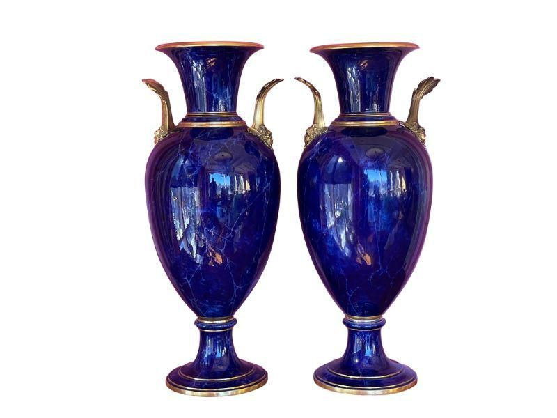 Ormolu-Mounted Sevres Faux Lapis Ground Vases