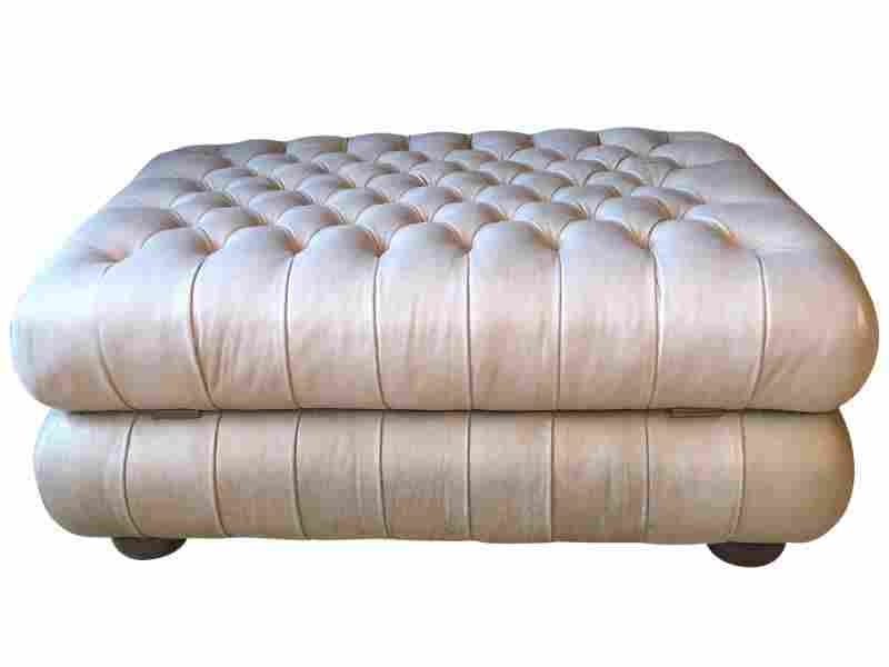 Tufted Leather Storage Ottoman