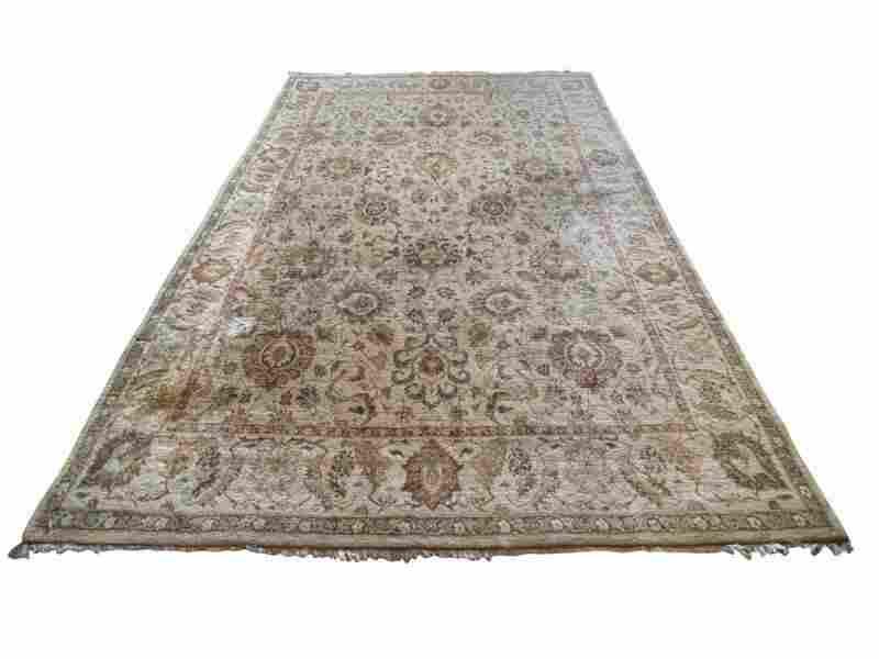 9 x 12 Biege Wool Oriental Rug