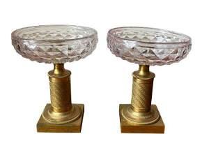 Vintage Crystal and Gilt Bronze Pedestal Compotes