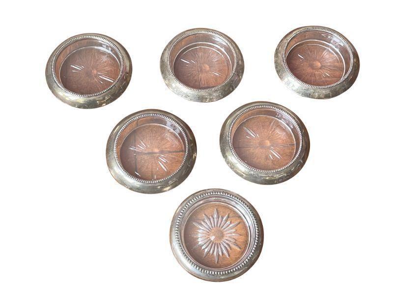 Vintage Sterling Silver Cocktail Coasters