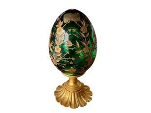 Hand Cut Crystal 24K Gold Plated Egg, Made in Italy