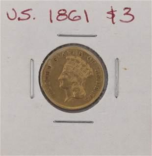 U.S. 1861 THREE-DOLLAR GOLD PIECE VF.
