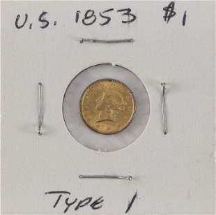 U.S. 1853 ONE-DOLLAR GOLD PIECE Type I. EF.