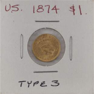 U.S. 1874 ONE-DOLLAR GOLD PIECE Type III. EF.