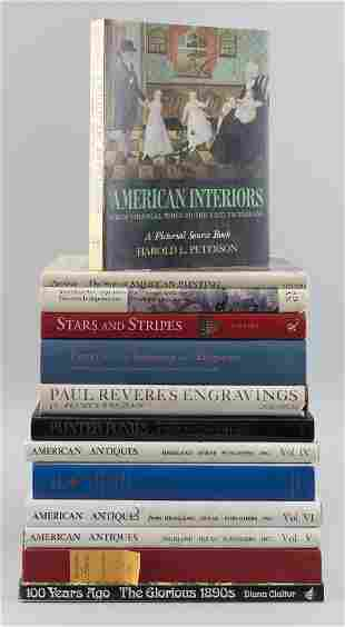 THIRTEEN BOOKS ON ANTIQUES Sizes, bindings and