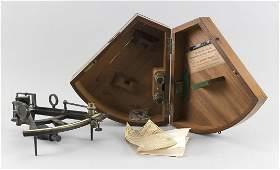 CASED SOLOMON MARKS SEXTANT Original mahogany