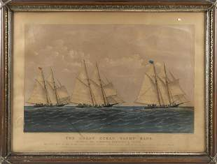"CURRIER & IVES LITHOGRAPH ""THE GREAT OCEAN YACHT"