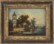 CHINESE SCHOOL 19th Century Harbor scene Oil on