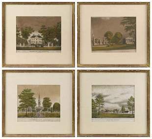 FOUR AMERICAN HISTORICAL HAND-COLORED LITHOGRAPHS All