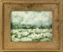 PAINTING OF A GREEN LANDSCAPE Unsigned. Oil on canvas