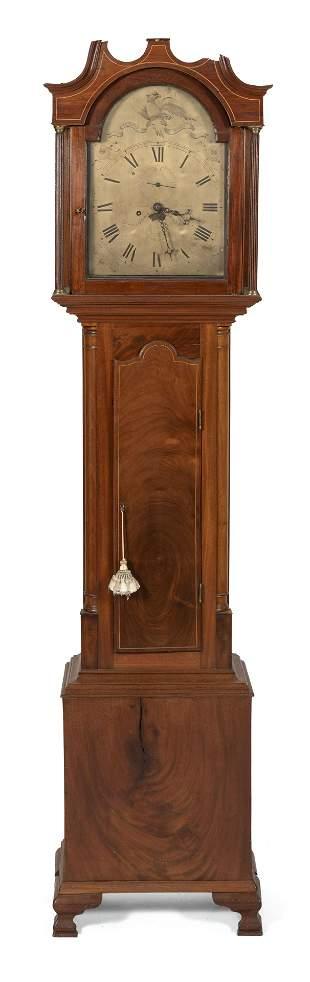 ENGLISH TALL-CASE CLOCK Mahogany and mahogany veneer