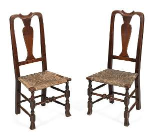 PAIR OF QUEEN ANNE RUSH-SEAT SIDE CHAIRS In pine, with