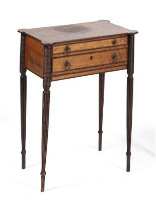SHERATON TWO-DRAWER WORK TABLE In maple, with