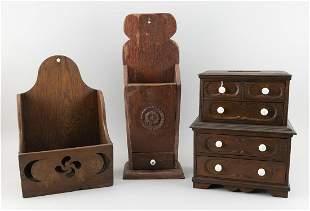 THREE WOODEN ITEMS 1) 19th Century child's bureau in