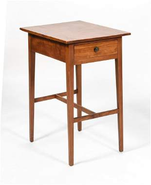 ONE-DRAWER STAND In maple. Drawer with circular brass