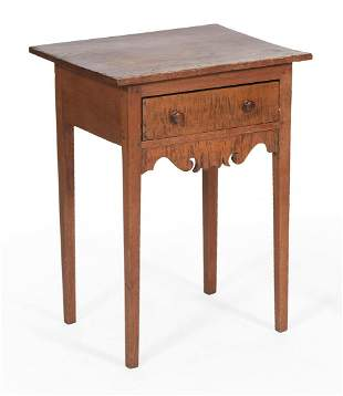 ONE-DRAWER STAND In maple. Drawer with tiger maple