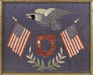 FILIPINO SILK NEEDLEWORK WITH PATRIOTIC DESIGNS Depicts