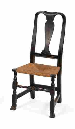 QUEEN ANNE RUSH-SEAT SIDE CHAIR Under black paint with
