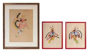 SPENCER ASAH, Oklahoma, 1905-1954, Three acrylics on