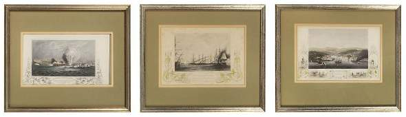 THREE HAND-COLORED ENGRAVINGS OF NAVAL BATTLES From