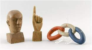 THREE CARVED WOODEN ITEMS 20th Century 1) An