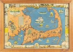 """RARE DECORATIVE MAP OF CAPE COD Circa 1937 """"Cape Cod"""
