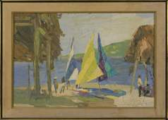 PAINTING OF A TROPICAL BEACH SCENE WITH SAILBOATS Mid-