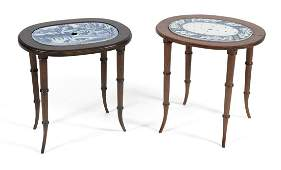 TWO MAZARINS SET INTO WOODEN TABLES English