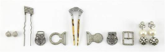 SIX PIECES OF RHINESTONE JEWELRY Together with a cut