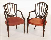 PAIR OF ENGLISH REGENCY-STYLE SHIELD-BACK ARMCHAIRS In