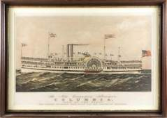 """CURRIER & IVES LITHOGRAPH """"THE NEW EXCURSION STEAMER"""