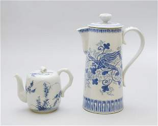 TWO JAPANESE PORCELAIN TEAPOTS Late 19th Century