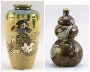 JAPANESE ENAMELED SETO WARE POTTERY VASE AND SAKE